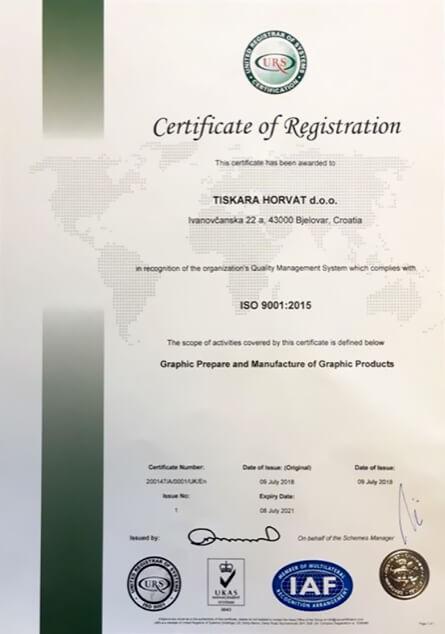Tiskara Horvat Bjelovar ISO 9001:2015 certifikat